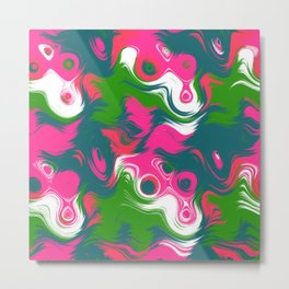 Green pink wavy strokes Metal Print