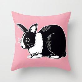 Black & White Dutch Rabbit Throw Pillow