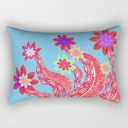 Octopus Garden No. 4 Surreal Simple Boho Floral Stamp Print Rectangular Pillow