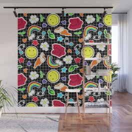 Cute Stickers on Grid Wall Mural