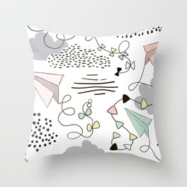 Kites & Clouds Throw Pillow