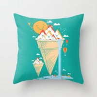 island Throw Pillows featuring mystery island by Steven Toang