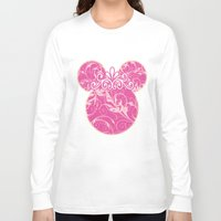 minnie mouse Long Sleeve T-shirts featuring Minnie Mouse Princess Pink Swirls by Whimsy and Nonsense