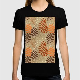 Abstract rustic botanical foliage brown beige burgundy red orange autumn leaf print T-shirt