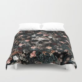 Skull and Floral pattern Duvet Cover