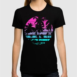 Retro Eighties 80s & 90s Beach Style design with palm trees design T-shirt