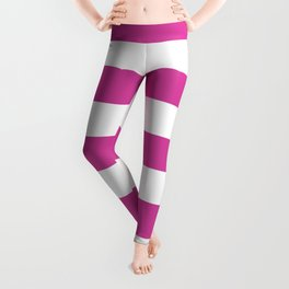 Barbie Pink (1975-1990) - solid color - white stripes pattern Leggings