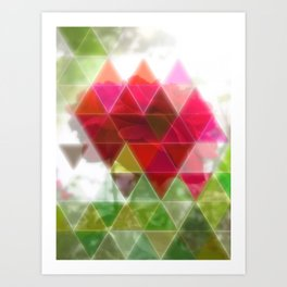 Red Rose with Light 1 Art Triangles 1 Art Print