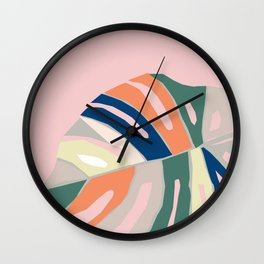 monstera plant leaf paper collage mid century modern Wall Clock
