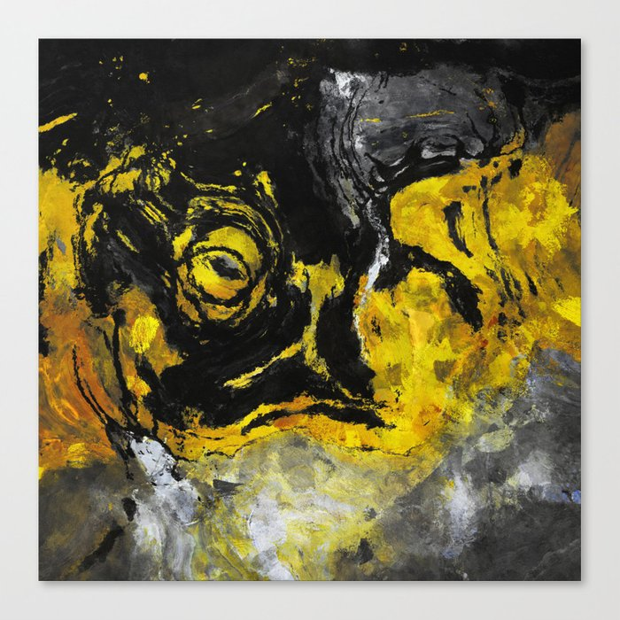 Yellow And Black Abstract Painting Canvas Print By Aysetoyran