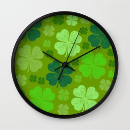 Saint Patrick's Day, Four Leaf Clovers - Green Wall Clock