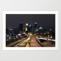 minneapolis Art Prints featuring Minneapolis by Julie Jo Pederson