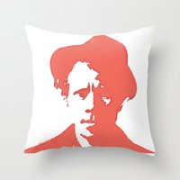 tom waits Throw Pillows featuring Tom Waits in Red by JennFolds5 * Jennifer Delamar-Goss