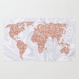 Rose Gold Glitter World Map on White Marble Rug