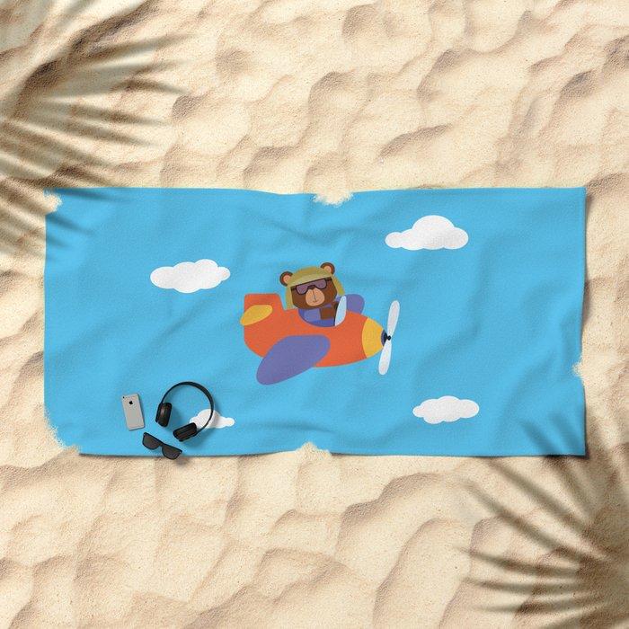 Bear in Airplane Beach Towel