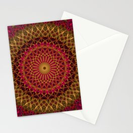 Detailed red and golden mandala Stationery Cards