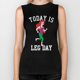 Today Is Leg Day Ariel Little Mermaid Run Gym Biker Tank