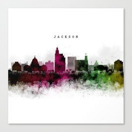 Jackson Watercolor Skyline Canvas Print