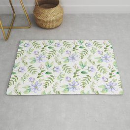 Watercolor lavender lilac green hand painted floral Rug