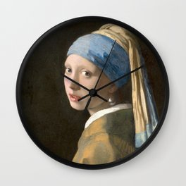Johannes Vermeer - Girl with the pearl earring (1665) Wall Clock