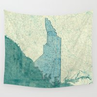 north carolina Wall Tapestries featuring North Carolina State Map Blue Vintage by City Art Posters