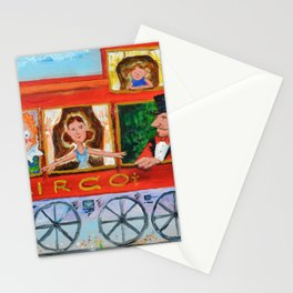 The Cabus of my Daughters' Circus Train El Cabus del Tren del Circo de mis Hijas Stationery Cards