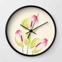 three Flamingo Flowers Graphic design Wall Clock