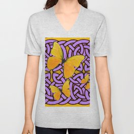 Purple celtic Abstracted butterfly  Pattern Unisex V-Neck