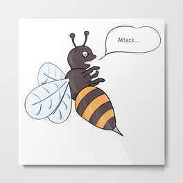 aggressive wasp attacking Metal Print