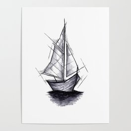 Sailboat Handmade Drawing, Art Sketch, Barca a Vela, Illustration Poster