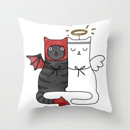 Angel & Demon Cats Throw Pillow