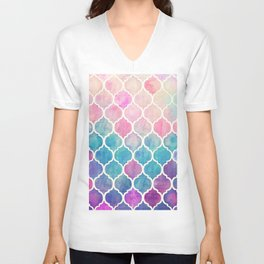 Rainbow Pastel Watercolor Moroccan Pattern Unisex V-Neck