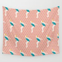 diver Wall Tapestries featuring Vintage Diver - Pink by Faye