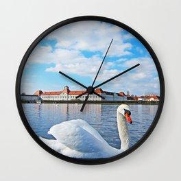 Swan Before a German Castle Wall Clock