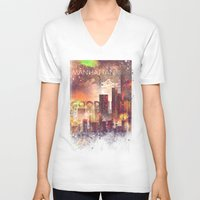 manhattan V-neck T-shirts featuring Good night Manhattan by HappyMelvin