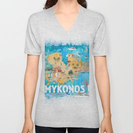 Mykonos Greece Illustrated Map with Main Roads Landmarks and Highlights Unisex V-Neck
