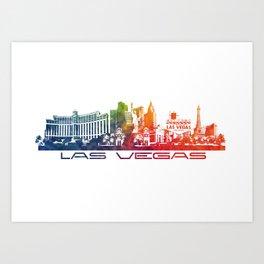 Las Vegas skyline color Art Print