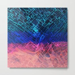 Rainbow neon light Cracked out Glass pattern iPhone, ipod, ipad, pillow case and tshirt Metal Print