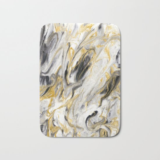 Black and Gold Marble Bath Mat