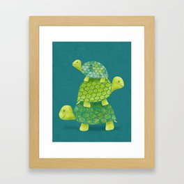 Turtle Stack Family in Teal and Lime Green Framed Art Print