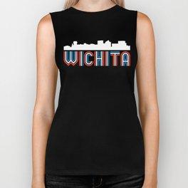 Red White Blue Wichita Kansas Skyline Biker Tank
