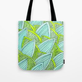Sea of Leaves - Blue and Green Leaf pattern Tote Bag