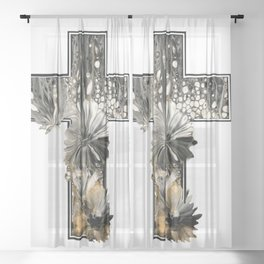 Fluid Art Cross Sheer Curtain