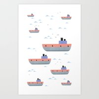 ships Art Prints featuring ships by Turksen Kizil