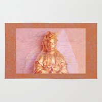 budi satria kwan Area & Throw Rugs featuring Rose-Bronze Kwan Yin by Jan4insight