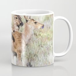 Two Deer, a Fawn and a Flower Coffee Mug
