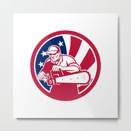 American Lumberjack USA Flag Icon Metal Print