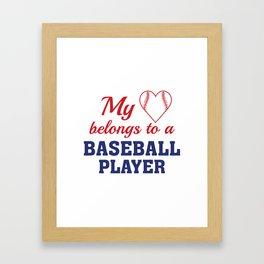Heart Belongs Baseball Framed Art Print