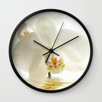 bath Wall Clocks featuring Orchid in a bath by UtArt