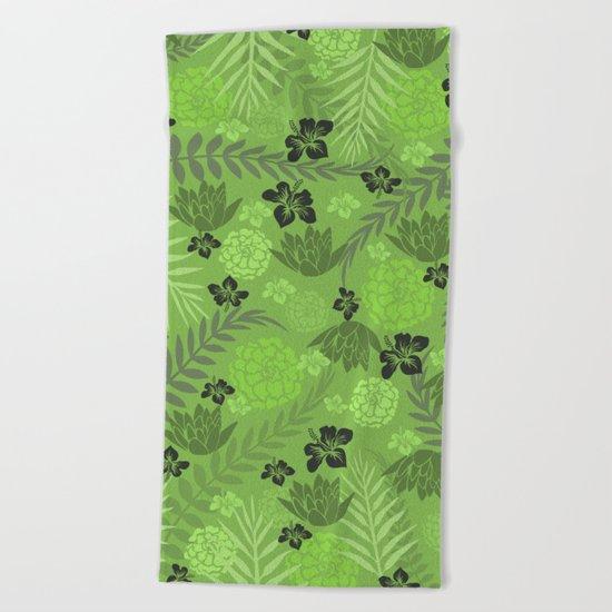 Greenery Floral Beach Towel